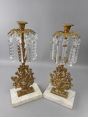 Antique Glo-Mar Art Works Brass & Crystal Pendant Floral Candlestick Holders