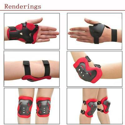 6 Kids Rollerblade Skateboard Skating Knee Elbow Wrist Protective Gear Pad Kit I