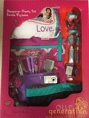 """Our Generation 18"""" SleepOver Set w/ sleeping bag Pillow Fits American Girl Doll"""