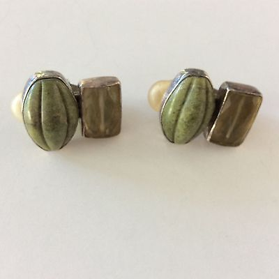 REBECCA COLLINS Sterling Silver SIGNED CLIP EARRINGS BLESS OUR EARTH 7/8""