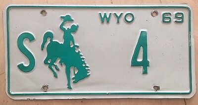 "1969 Wyoming State Official License Plate "" S  4 "" Wyo State Auditor Low Number"