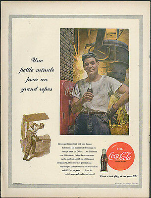 Une petite minute pour grand repos Coca-Cola ad 1953 in French; foundry worker