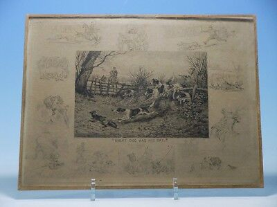 Frank Paton 1890 Radierung Etching Signiert gerahmt every dog has his day VZ
