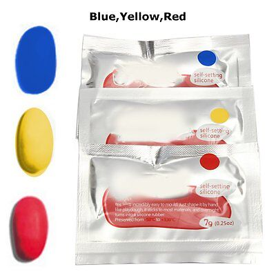 3 Pack Yellow/Blue/Red Mouldable Glue Waterproof Fix Repair Silicone Rubber Tool