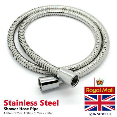 Universal Replacement Chrome Shower Hose 8mm Bore + Conical Ends | 1.25m / 1.5m