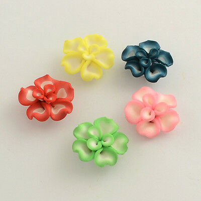 20pcs Mixed Color Handmade Polymer Clay Flower Beads DIY Findings 23~26x11mm