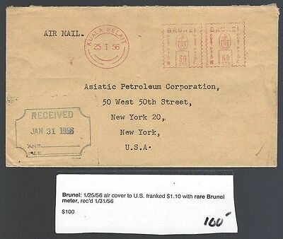 Brunei cover to USA with 1956 Neopost 50c + 60c meter