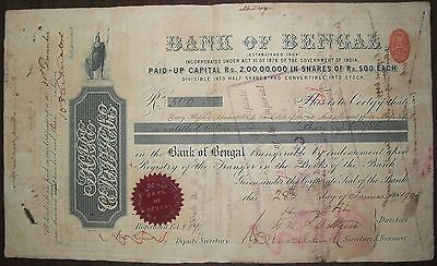India 1904 Bank of Bengal share certificate