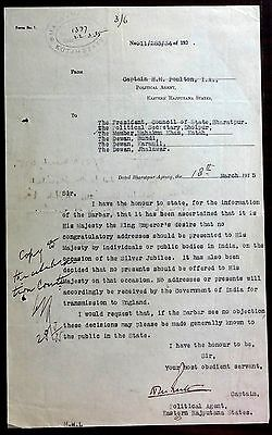 India 1935 Silver Jubilee document King George V wants no congrats or presents