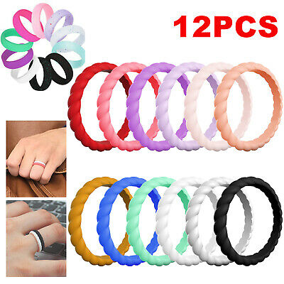 5/1X Silicone Wedding Engagement Ring Men Women Rubber Band Gym Sport Flexible