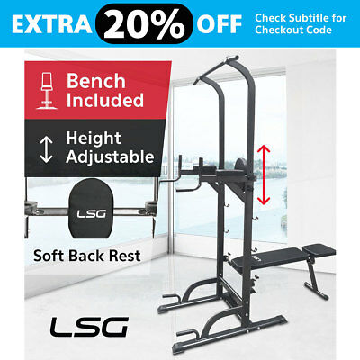 Fitness Knee Raise Power Tower Chin Up Push Pull Dip Station Home Gym LSG