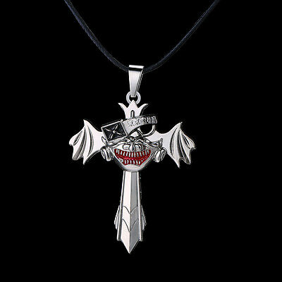 New Tokyo Ghoul Cosplay Ken Kaneki Mask Silver Cross Wing Necklace Pendant Gift