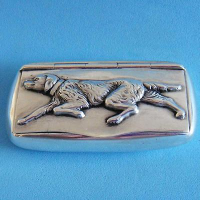 L@@k SUPERB Vintage Sterling SILVER Animal Pointer Dog Hinged Snuff Pill Box!