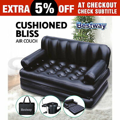 Bestway 5-In-1 Air Couch Air Sofa Bed Inflatable Mattresses Sleeping Mats Black