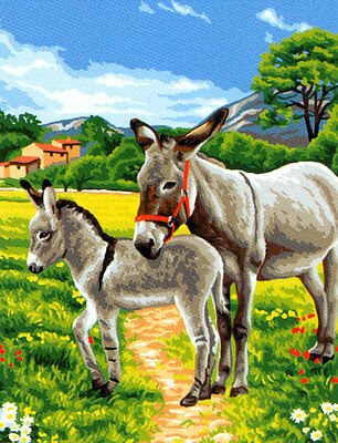 Donkey Pair Tapestry Needlepoint Canvas Royal Paris