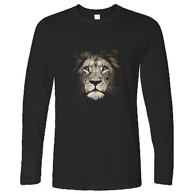 Lion Face High Quality Photograph Majestic Mane, Printed Design Long Sleeve