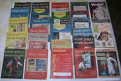Antique Old Vintage Lot Pulp Fiction Mystery Magazines Detective Ellery Queen