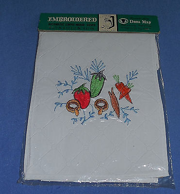 Vintage Dora May Embroidered Vinyl Veggie  Automatic Coffee Maker Cover - Nos