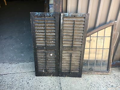 """PaiR 19th century louvered VICTORIAN house SHUTTERS Old black paint 38.5"""" x 14.5"""