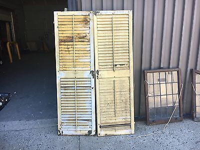 "GREAT pair victorian louver house window shutters old yellow paint 69.5"" x 21"""