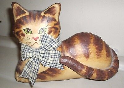 Oilcloth Cat Soft Sculpture Orange Tabby FREE SHIPPING
