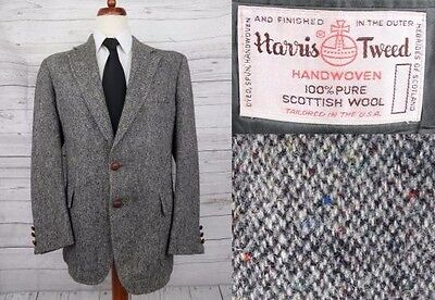 Vintage 1970s Multi Tone Grey Bright Harris Tweed Jacket -44- DC45