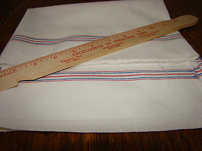 "38"" X 36""  Vtg Antique BLUE & RED STRIPE MUSLIN  Fabric 0pen FEED SACK GRAIN BAG"