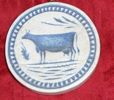 Vtg Primitive Folk Art Pottery Ceramic Cow Mold Blue White Cow Wall Hanging