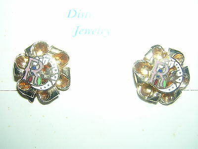 Bow/Ribbon EARRINGS Screw-On Gold Daughters of REBEKAH Odd Fellows Girl vintage!