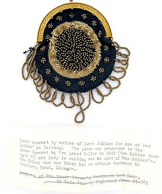 Rare / Stunning 18Ct Gold & Crochet Purse. Netherland / Dutch Royalty With Note!