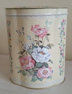 Vintage Floral Ivory Tin Canister Made in England