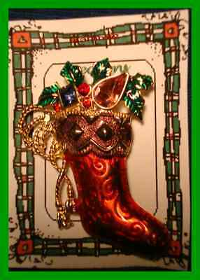 Christmas PIN #0124 Signed Christopher Radko Red Stocking Goldtone HOLIDAYBROOCH