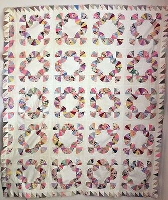 Vintage Feed Sack Mohawk Trail or Path of Fans or Chinese Fan Quilt Top