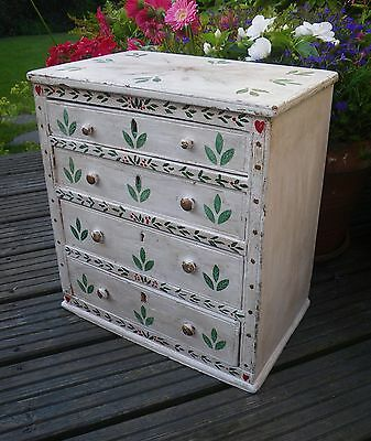 Antique Edwardian Rustic Country~Folk Art Small Painted Wooden Chest Of Drawers