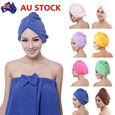 3PC Microfibre After Shower Hair Turban Drying Wrap Towel Quick Dry Hair Hat Cap