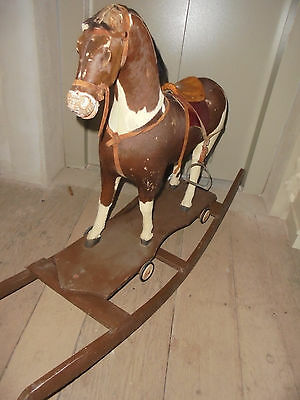 27775 altes antikes großes Schaukelpferd Pony Fell 1900 antique rocking horse
