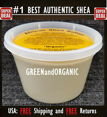 100% ORGANIC VIRGIN RAW AFRICAN SHEA BUTTER UNREFINED 16 oz 1 Lb GRADE A 16oz