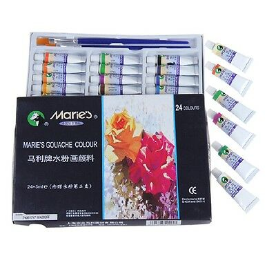 Professional 24 Color 5ml Paint Tube Draw Painting Watercolor & Free Paint Brush