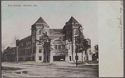 Vintage 1907 Old Litho Kokomo Indiana High School Historic Building Postcard