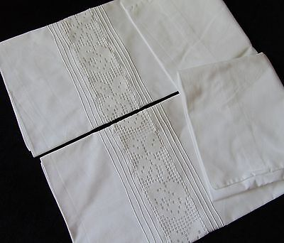 Vintage French Thick Old Cotton Lace Inset Pintuck Pair Of Pillowcases Unused