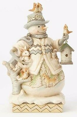 Jim Shore Sing For Winter White Woodland Snowman with Birdhouse Figurine 4058734