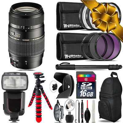 Tamron 70-300mm Lens for Canon + Professional Flash & More - 16GB Accessory Kit