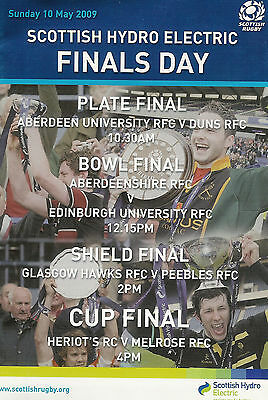 SCOTTISH FINALS DAY Heriot's v Melrose 10 May 2009 RUGBY PROGRAMME