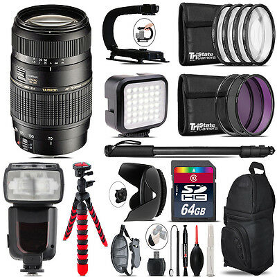 Tamron 70-300mm Lens for Canon - Video Kit + Pro Flash - 64GB Accessory Bundle
