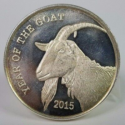 2015 Year of Goat Silver Round 1 Troy oz .999 Silver Round