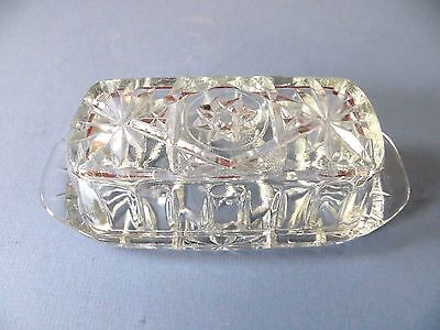 Vintage Anchor Hocking Star Of David/early American Prescut Covered Butter Dish