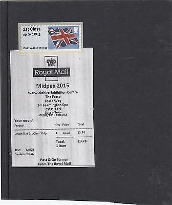 GB 2015  Post & Go Frama MIDPEX no oprint Union Flag single1st class stamp A8
