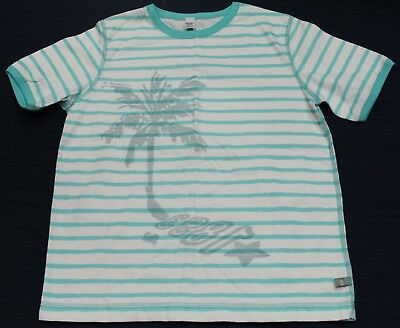 PETIT BATEAU Boy's Teal Striped Palm Tree T-Shirt Sz 3 Years (94cm) NEW $40