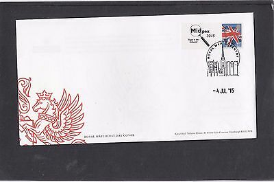 GB 2015 MIDPEX Union Flag Smiler stamp + tab logo on RM FDC Coventry spec pmk