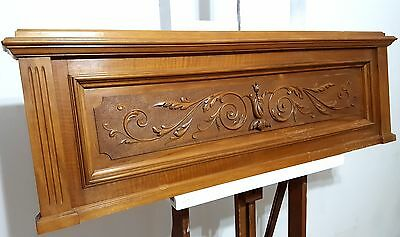 HUGE HAND CARVED WOOD PANEL ANTIQUE FRENCH BOW GARLAND CARVING PEDIMENT 19th